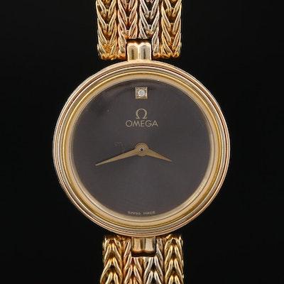 Vintage Omega 18K Gold Tri-Tone Crownless Quartz Wristwatch