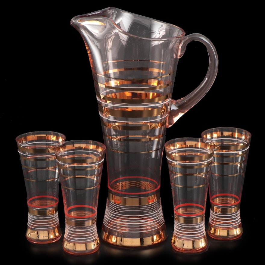 Gilt Striped Pitcher and Cocktail Glasses, Mid-20th Century