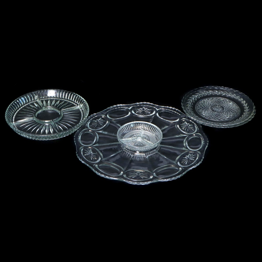 Pressed Glass Crudité, Relish and Serving Platters