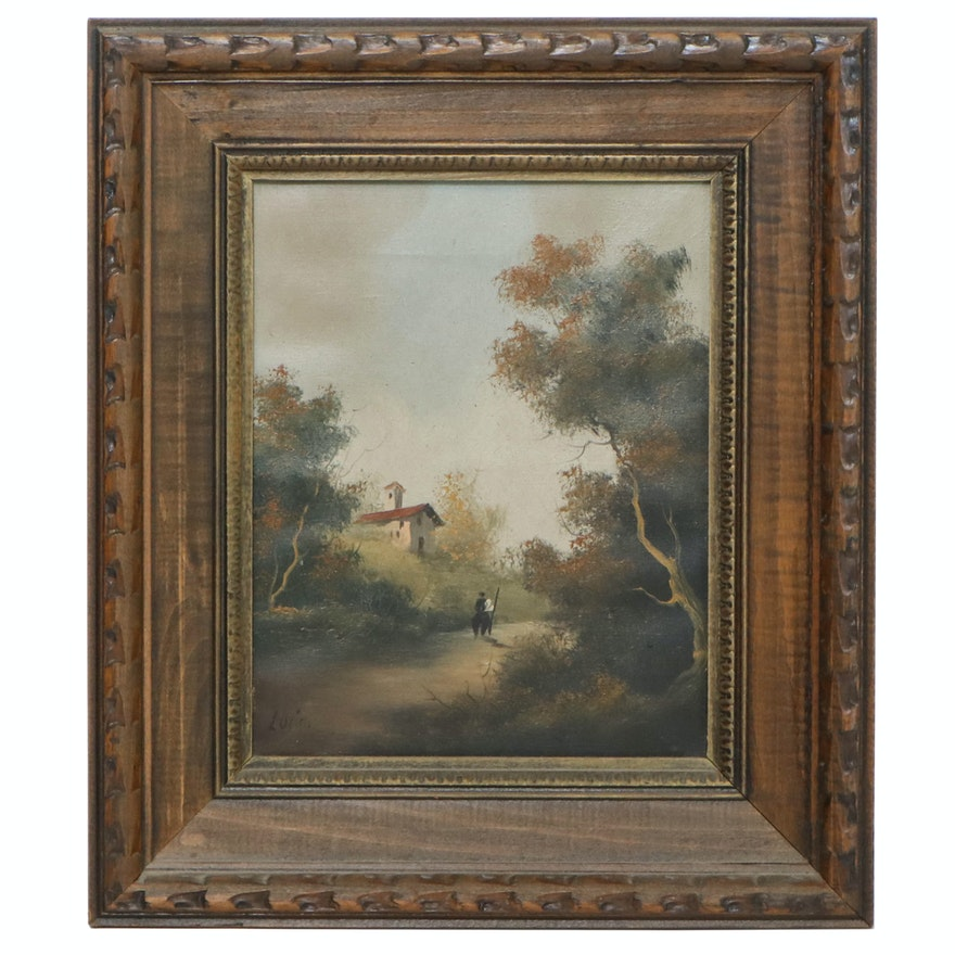 Continental Style Landscape Oil Painting, Mid to Late 20th Century