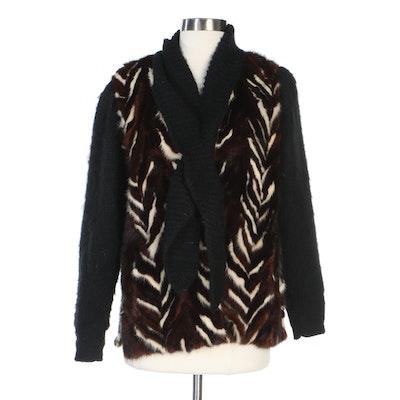 Mink Fur Chevron and Black Knit Sweater Jacket