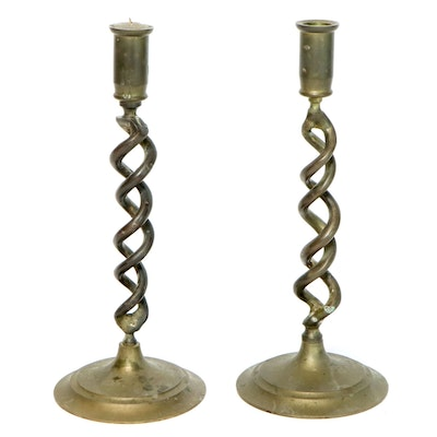 English Brass Barley Twist Candlesticks, Early 20th Century