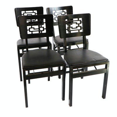 Stakmore Ebonized Wood Vinyl-Upholstered Folding Chairs, Mid-20th Century