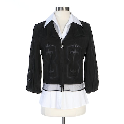 Escada Embroidered Suede Leather Jacket with Mesh Bib Blouse