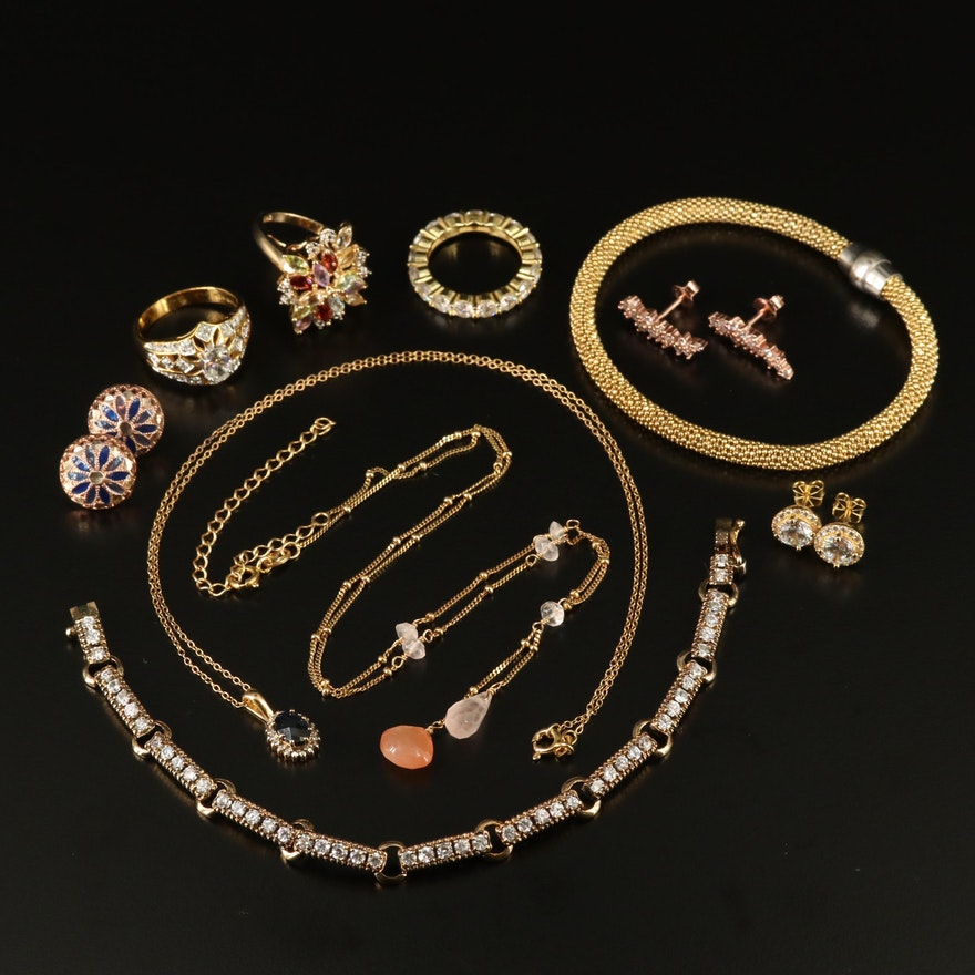 Assorted Sterling Jewelry with Rose Quartz, Cubic Zirconia and Enamel