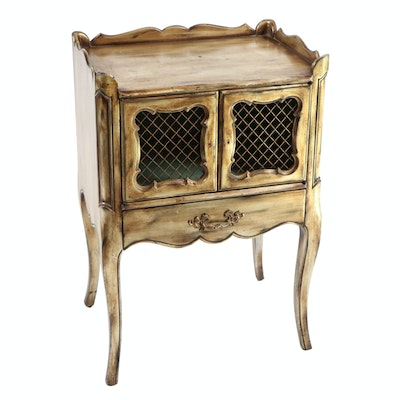 French Provincial Style Painted Wood Treillage Nightstand
