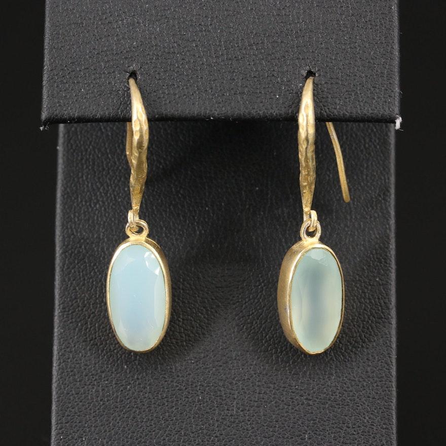Sterling Silver Bezel Set Prehnite Dangle Earrings