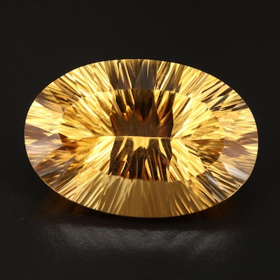Loose 52.00 CT Modified Oval Faceted Citrine
