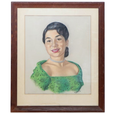 Pastel Portrait of Woman in Green Dress and Pearls, 1950