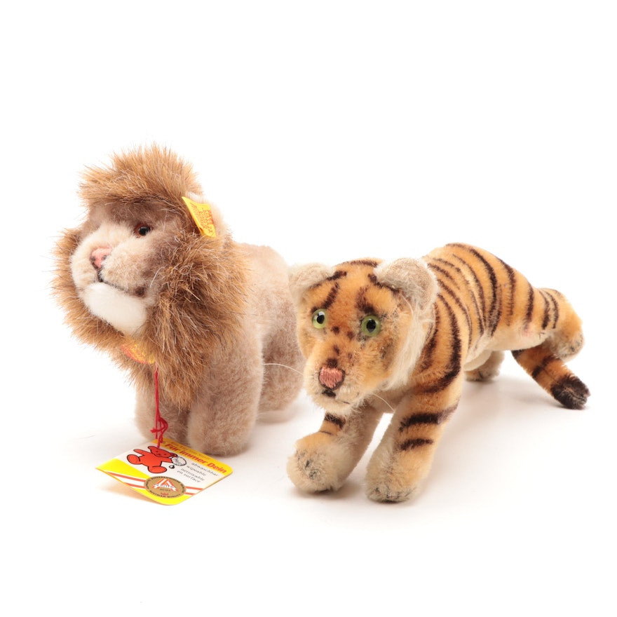 """Steiff """"Leo"""" Lion with Tiger Stuffed Animal, Mid to Late 20th Century"""