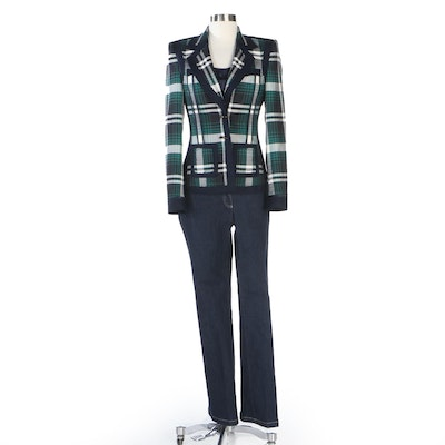 Escada Glen Plaid Jacket with Navy Silk Blouse and Denim Jeans