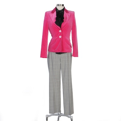 Escada Pink Velvet Jacket with Black Leather Ruffle Blouse and Glen Plaid Pants