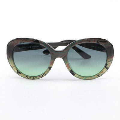 ETRO ET609S Round Khaki Paisley Sunglasses with Case