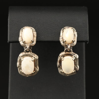 Sterling Mother of Pearl Drop Earrings with 18K and Sterling Omega Clips