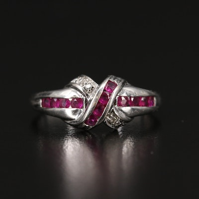 10K Ruby and Diamond Crossover Ring
