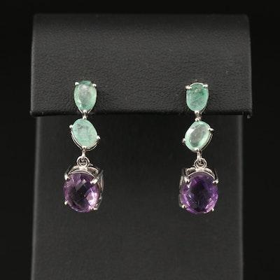 Sterling Silver Amethyst and Emerald Drop Earrings