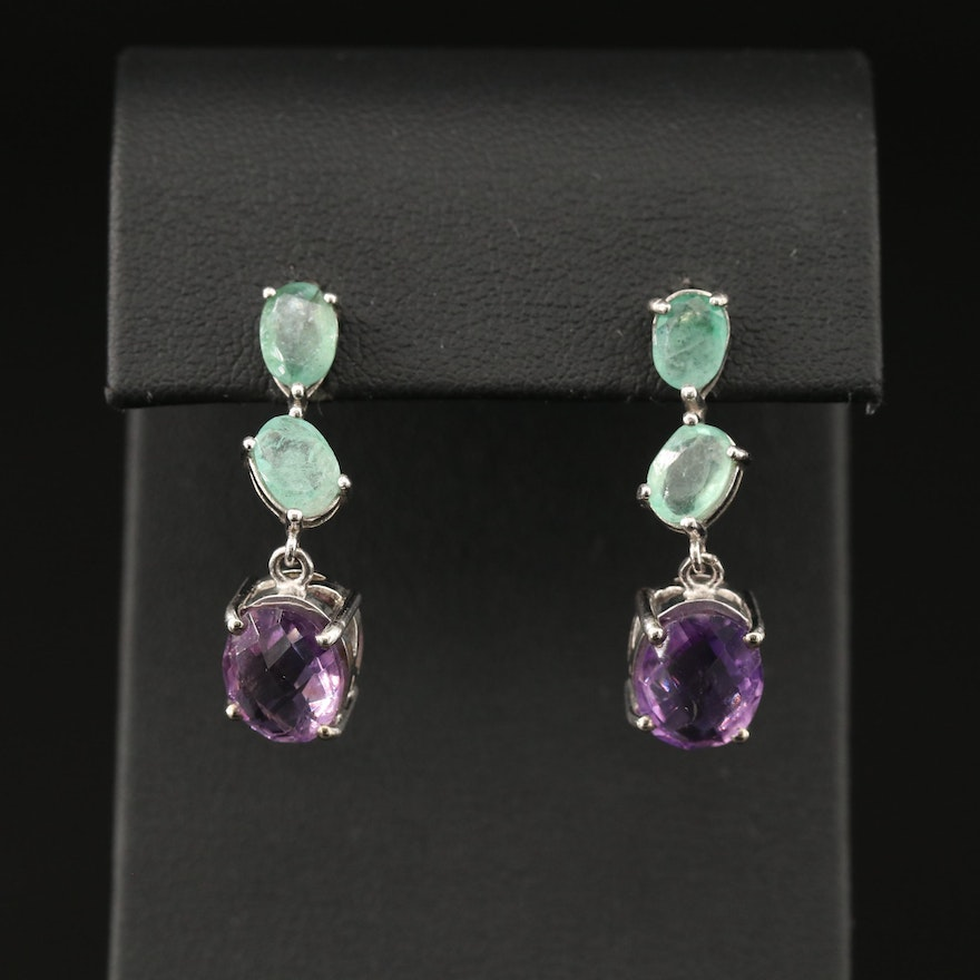 Sterling Silver Amethyst and Emerald Drop Earrings