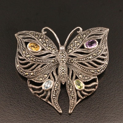 Sterling Silver Multi-Gemstone Butterfly Brooch with Openwork Design
