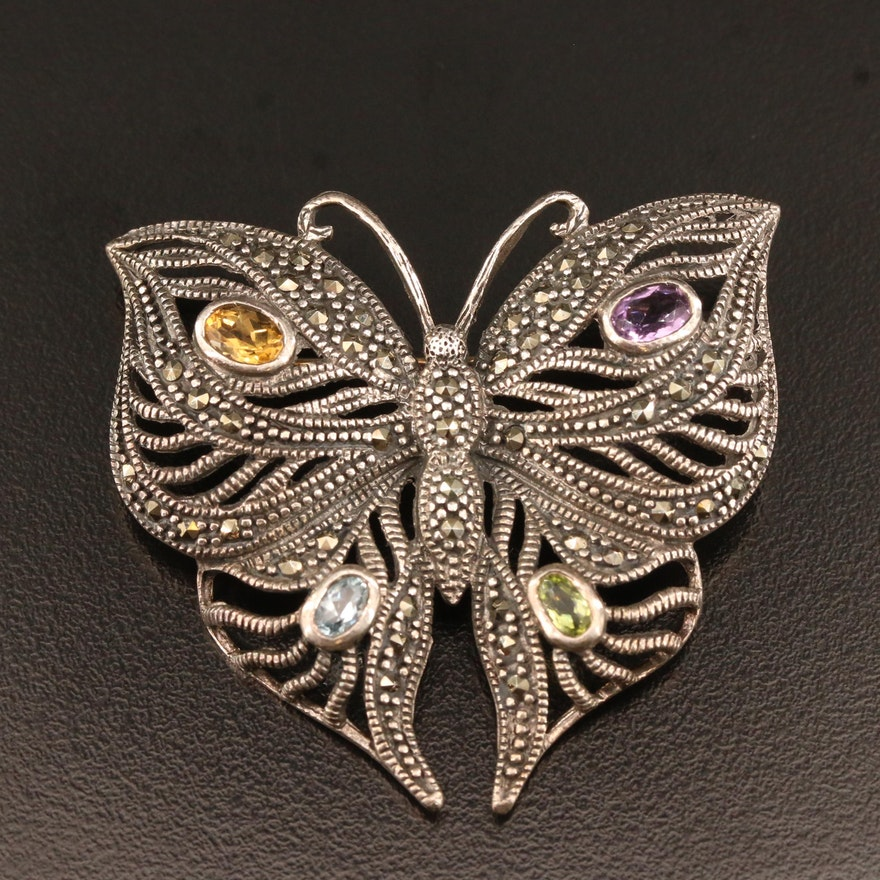 Sterling Silver Multi-Gemstone Butterfly Brooch with Openwork Design