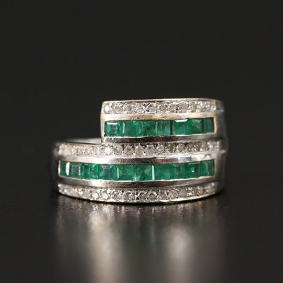 14K Emerald and Diamond Multi-Row Channel Band
