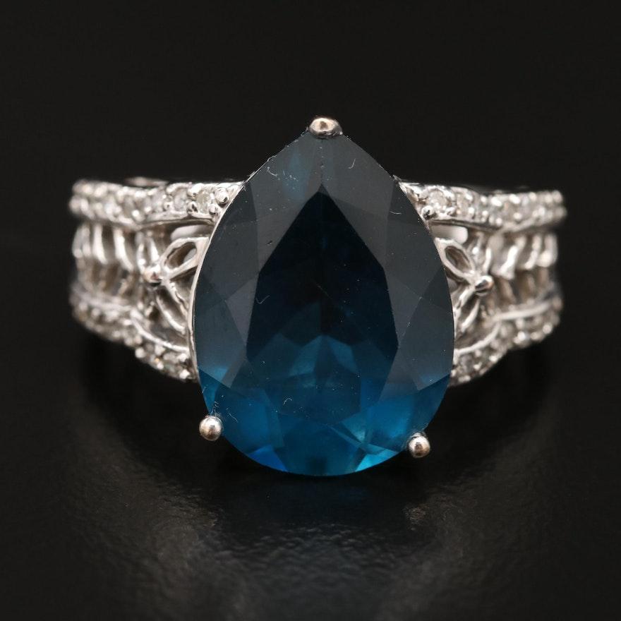 14K London Blue Topaz and Diamond Teardrop Ring