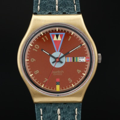 1989 Swatch Boca Verde Gold Tone Quartz Wristwatch