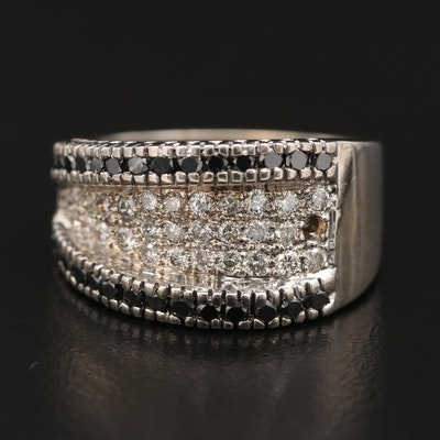 14K Diamond Multi-Row Band