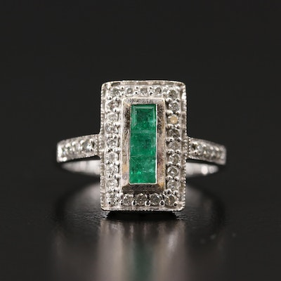 14K Emerald and Diamond Rectangular Ring