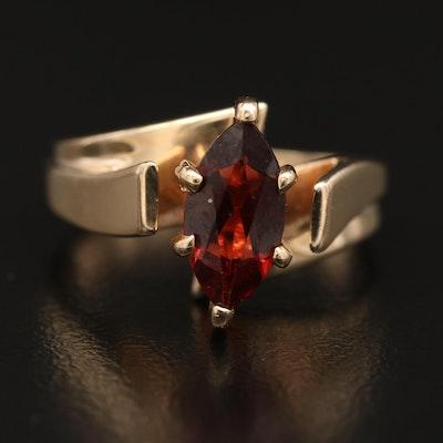 10K Garnet Marquise Bypass Ring