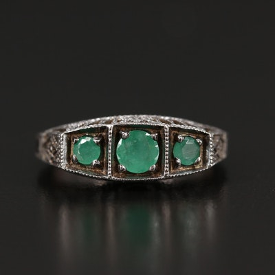 Sterling Silver Three Stone Emerald Ring