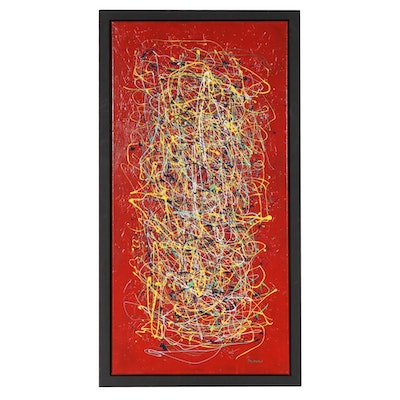 "Lou Balducci Abstract Acrylic Painting ""Dazzling Red"""