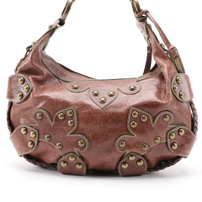 Isabella Fiore Drew Oasis Brown Leather Studded Hobo Bag