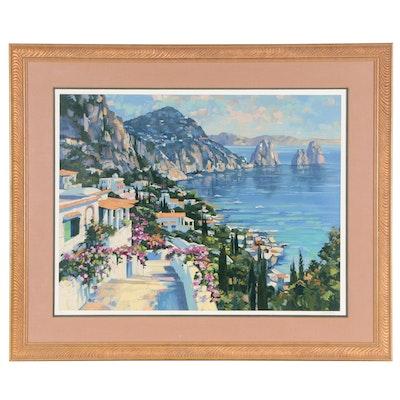 "Howard Behrens Mediterranean Serigraph ""Isle of Capri"""
