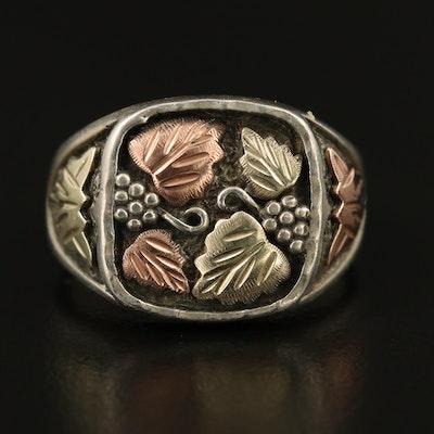 Sterling Tri Color Grape Cluster Ring