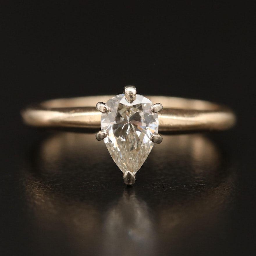 0.75 CT Pear Cut Diamond Solitaire Ring in 14K