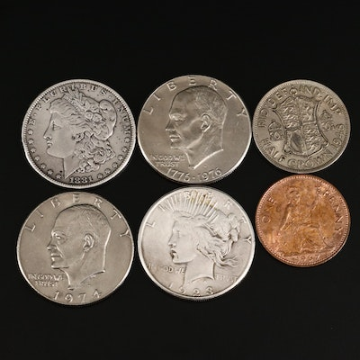 Group of U.S. Dollars and British Coinage, Including Silver