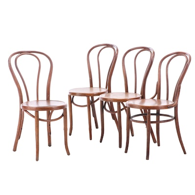 Bentwood Birch Bistro Side Chairs, Early 20th Century