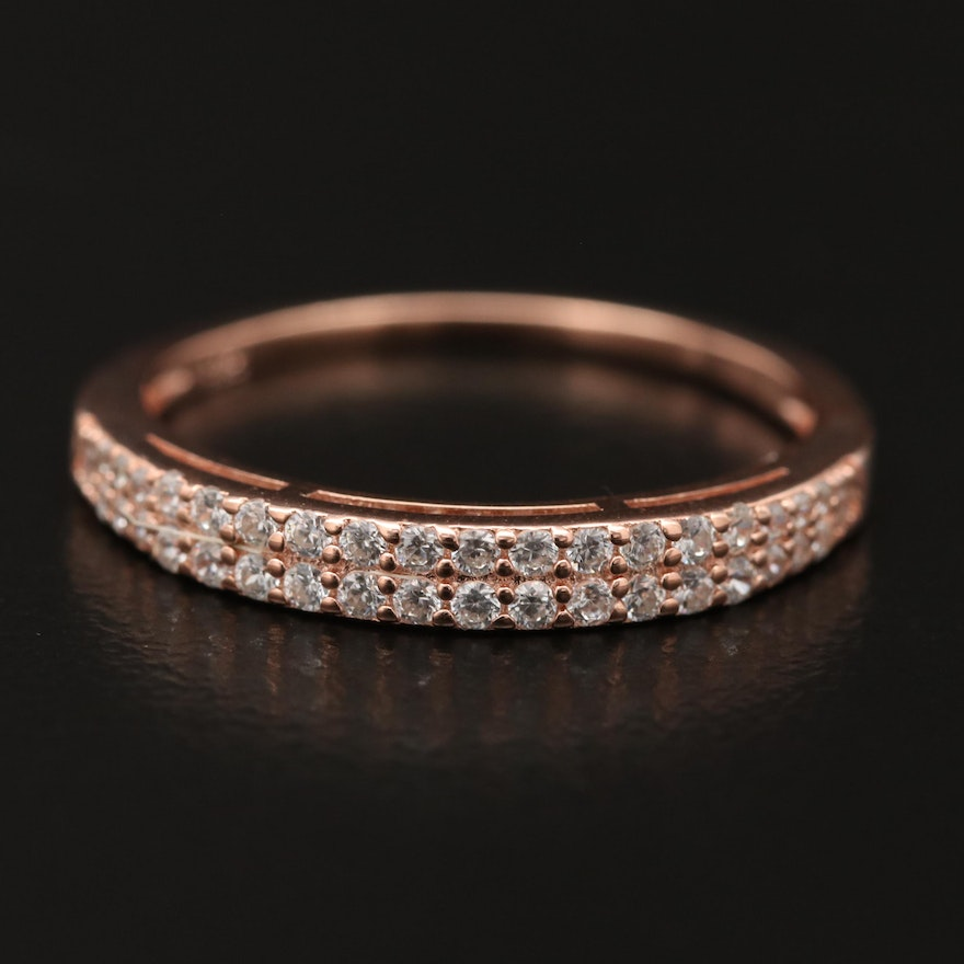 Sterling Silver Cubic Zirconia Double Row Band