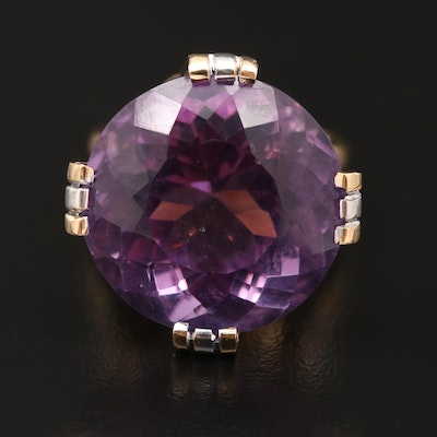 14K 31.25 CT Amethyst and Diamond Statement Ring