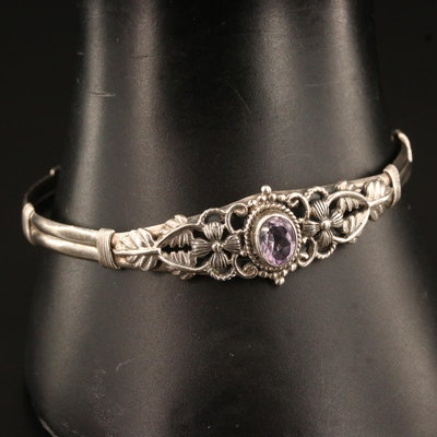 Swedish Sterling Silver Amethyst Cuff