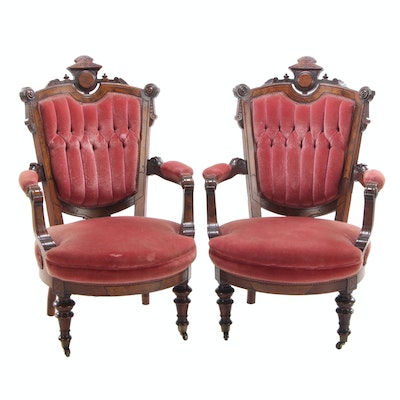 Pair of Victorian, Renaissance Revival Walnut Armchairs, Late 19th Century