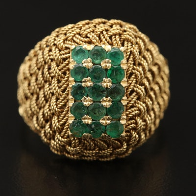 18K Emerald Woven Ring
