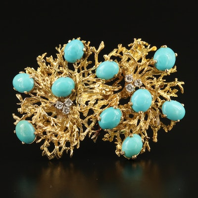 14K Turquoise and Diamond Converter Brooch with Reef Design