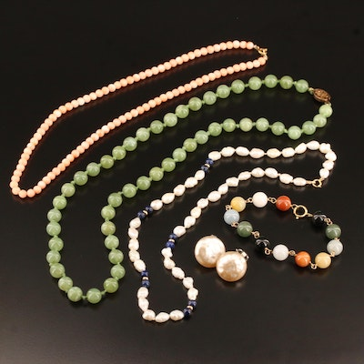 Coral, Nephrite and Pearl Jewelry Featuring 14K Bracelet, 14K and 18K Clasps