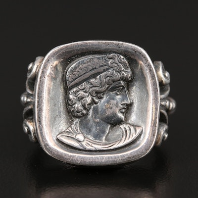 Sterling Silver Roman Profile Relief Ring