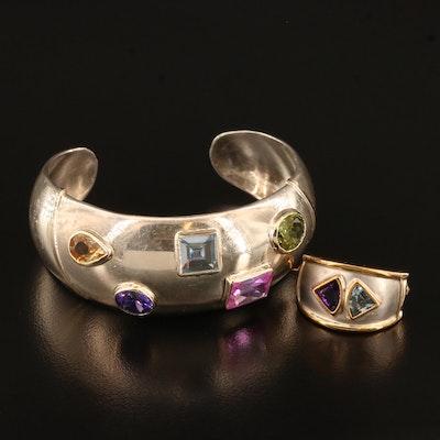 Sterling Silver Bezel Set Gemstone Cuff with 14K Brooch