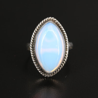 Sterling Navette Ring with Marquise Glass Cabochon
