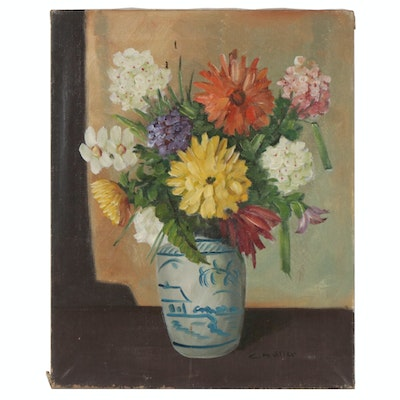 Vase of Flowers Still Life Oil Painting, Mid 20th Century