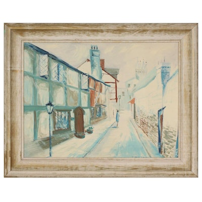 Karl Paulig Oil Painting of European Street Scene, 1959