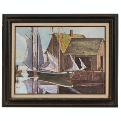 K. Franklin Oil Painting of Harbor Scene with Boats, 1982